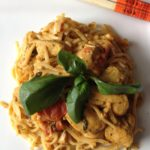 Single Girl's Dinner Saver – Thai peanut chicken curry with coconut milk, plum tomatoes, and fresh basil