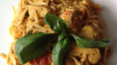 Single Girl's Dinner Saver - Thai peanut chicken curry with coconut milk, plum tomatoes, and fresh basil