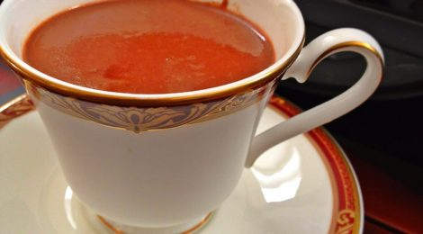 Dark hot chocolate spiked with red chili