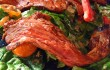 Grilled Chipotle Steak Salad: Baby spinach, grape tomatoes, red pepper, goat cheese, and roasted cashews