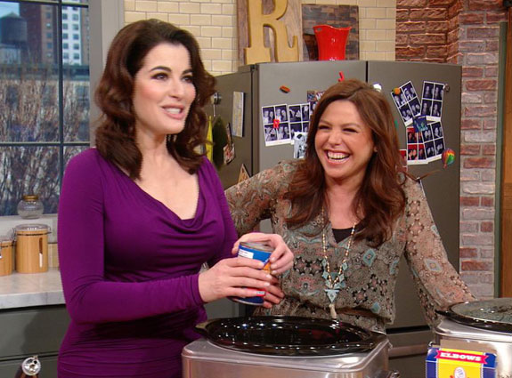 Domestic Dess Nigella Lawson On The Rachael Ray Show Preparing Slow Cooked Lamb Ragu With