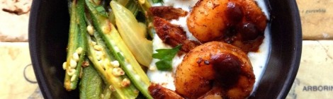 Indian BBQ Shrimp, Okra, and Zucchini Raita