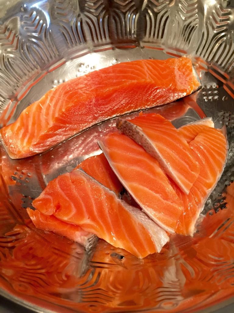 Salmon filets sliced lengthwise