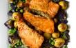 Weeknight Dinner Saver: Salmon Tikka over oven-roasted Honey Gold baby potatoes, purple cauliflower, and green peas