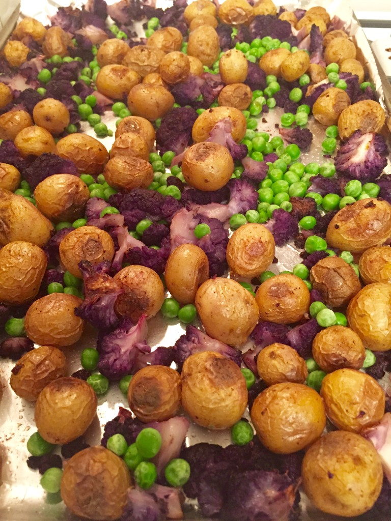 Indian-style oven-roasted vegetables and potatoes