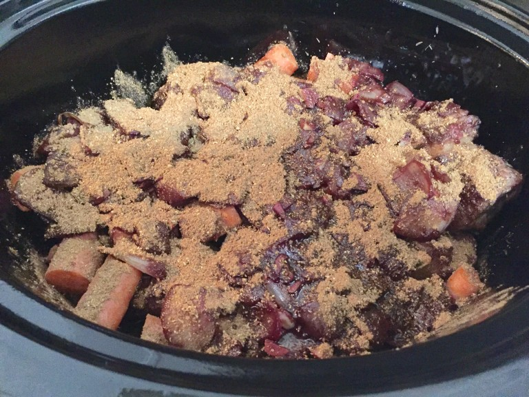 ... away, add carrots, thyme, and stock to the ribs in the slow cooker