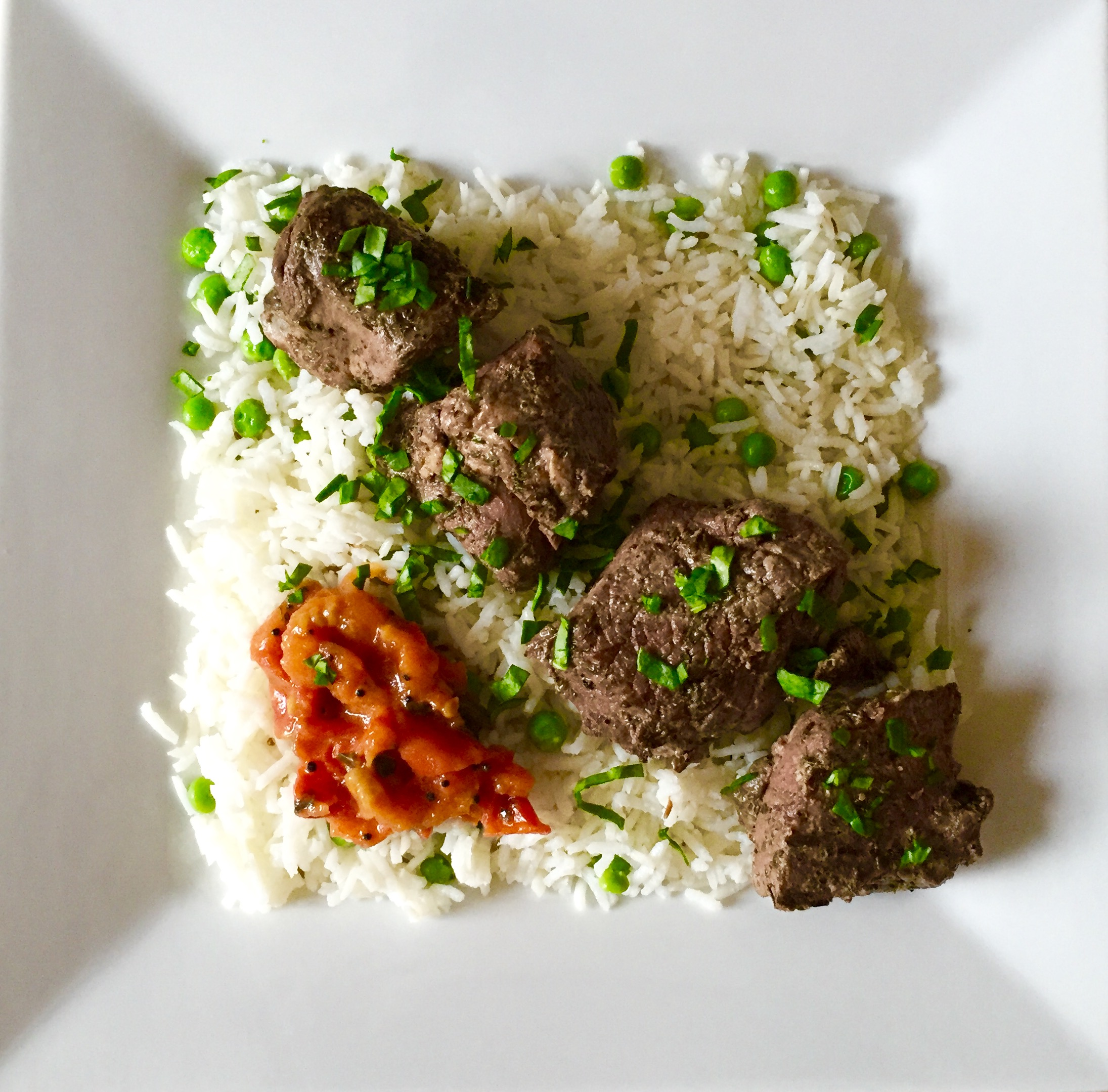 Summer Supper: Grilled Lamb Kebabs with Tomato Chutney Over Basmati Rice