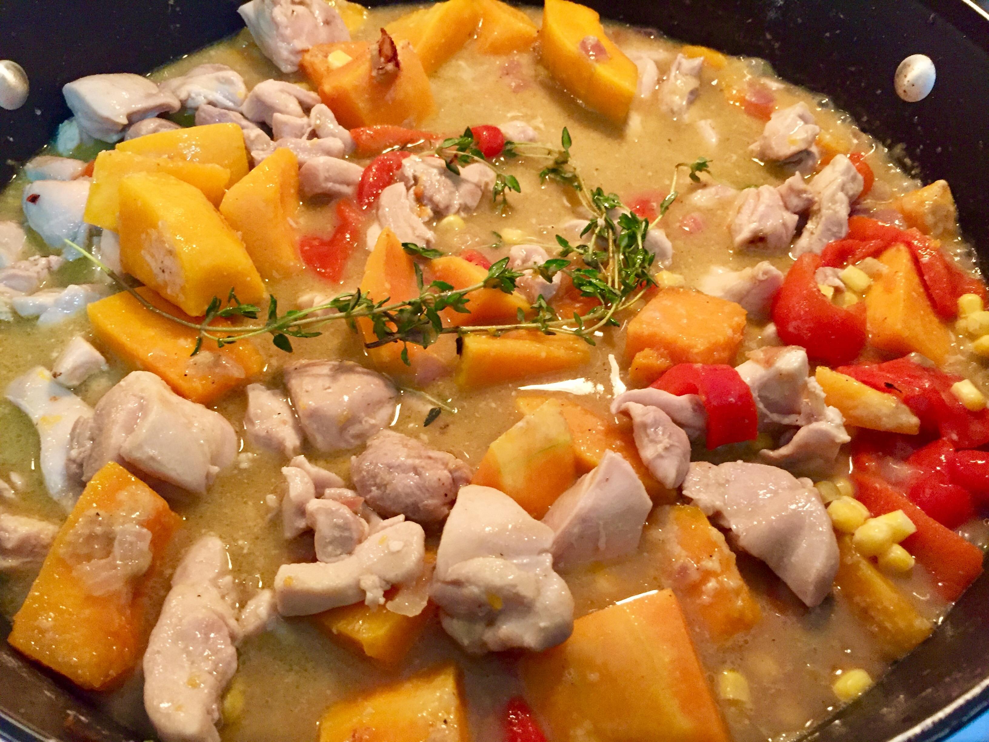 Chicken & butternut squash corn chowder