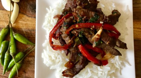 Super Spicy Thai-Style Beef with Basil and Chillies over Basmati Rice
